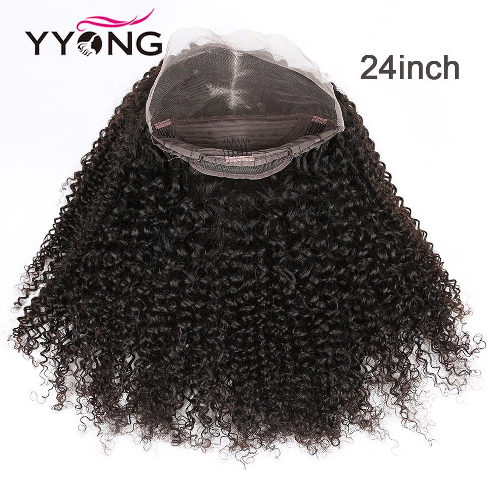 YYong 30INCH Long Mongolian Kinky Curly  Wigs 13x4 Lace Front  Wigs 130% Density  Lace Front Wigs 4