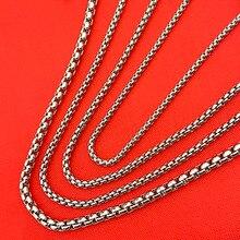 все цены на Men Women Silver Chain 2mm 2.5mm 3mm 4mm Stainless Steel box Necklace Chain For women men locket pendant