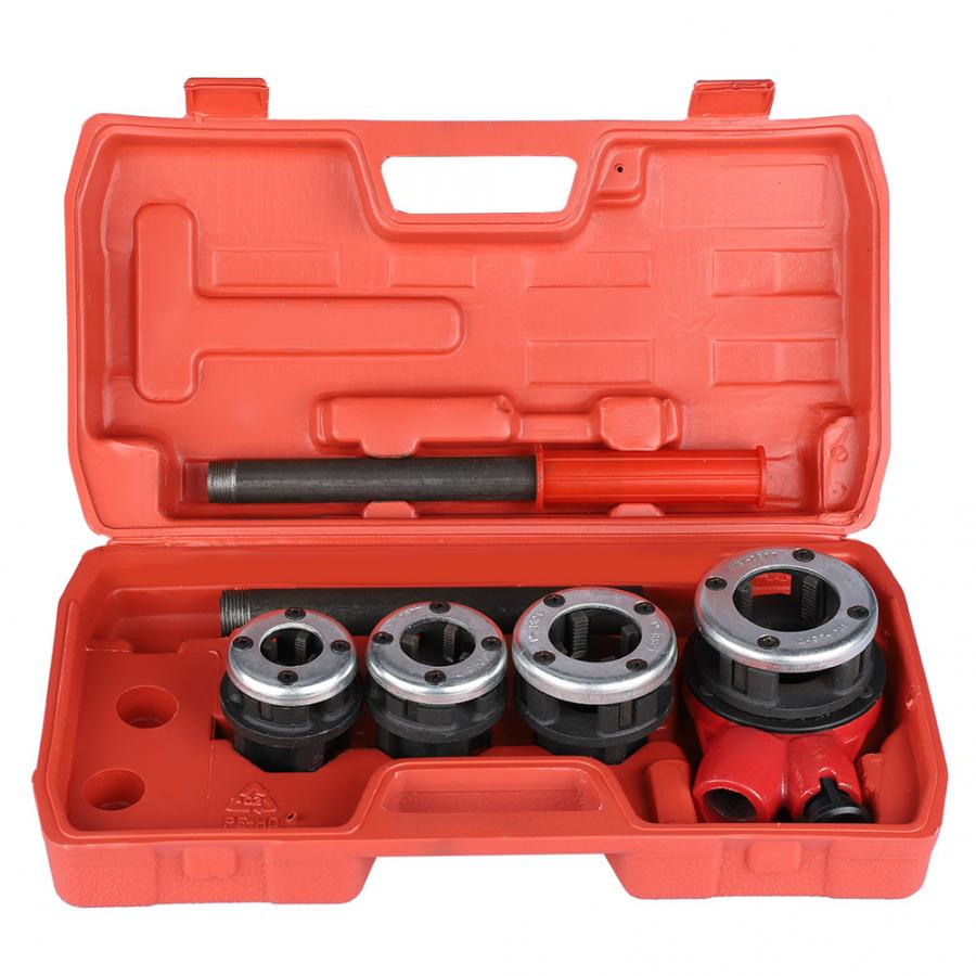 4 Dies Manual Plumber Pipe Threading Kit 1/2
