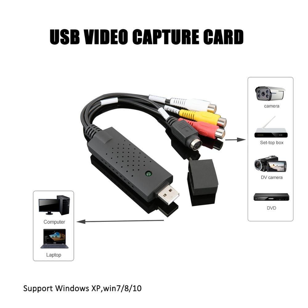 USB Video Capture Card TV Audio DVD DVR VHS to Digital File Converter  AV Video Recording For Window XP/Vista/Win 7/8/10/IOS 2