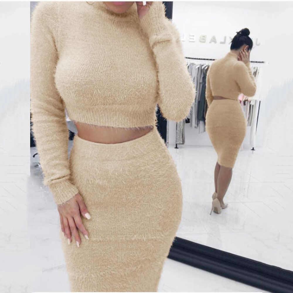 NIBESSER ニットスーツ梨花固体タートルネックセーター + ニットスカートは、冬暖かいスーツ 2 2 ピース用の衣装を設定女性