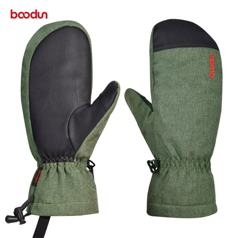 Boodun Men Women Winter Ski Gloves Windproof Waterproof Snow Snowboard Skiing Gloves Thermal Fleece Warm Gloves With PU Palm