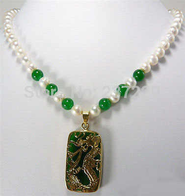 HOT # # ขายส่งราคาจัดส่งฟรี ^^^^ สีขาวที่สวยงาม Pearl สีเขียวหยก 18KGP มังกรจี้สร้อยคอ