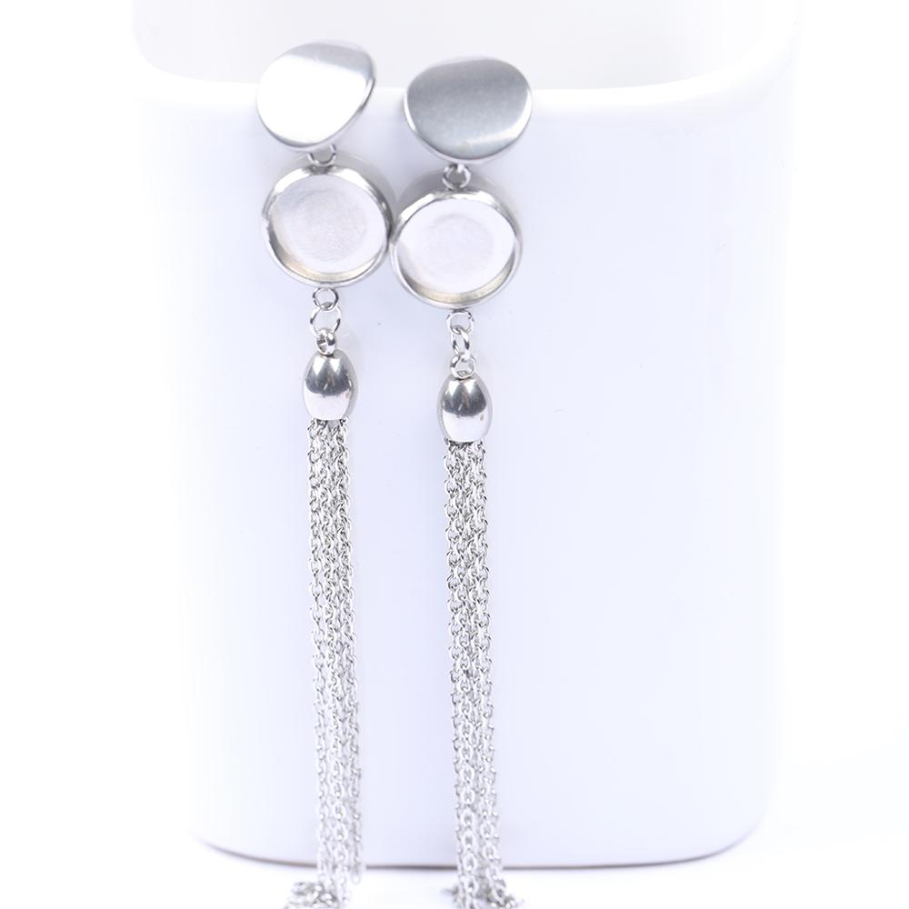 10pcs 12mm Blank Cabochon Earring Base With Tassel Charms Stainless Steel Diy Earrings Jewelry Making Supplies(China)