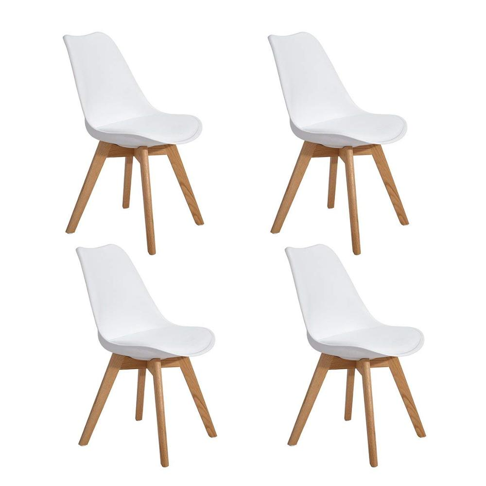 EGGREE Set Of 4pcs Tulip Padded Dining Chair With Oak Wood Legs For Dining Room And Bedroom - White - 2-8days EU Warehouse
