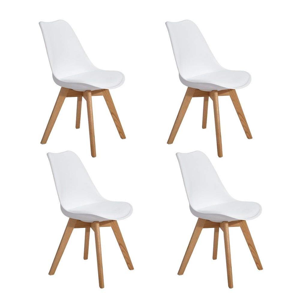 EGGREE lot de 4 pièces chaise de salle à manger rembourrée tulipe avec pieds en bois de chêne pour salle à manger et chambre à coucher-blanc-2-8days EU entrepôt