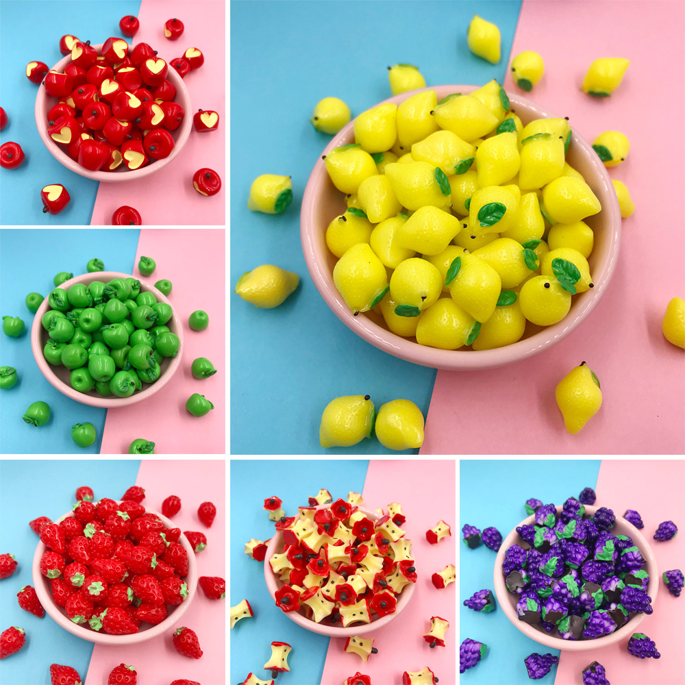 10Pcs Miniature 3D Fruits Resin Cabochon Kawaii Simulation Apple Strawberry Lemon DIY Scrapbooking Jewelry Charms Accessories