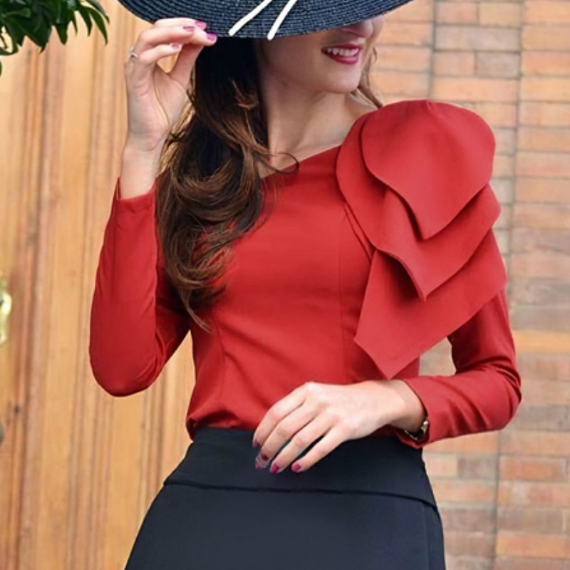 Red Blouses Long Sleeves Left Big Leaves Elegant Office Ladies Classy Modest Tops Shirt Women Fashion Spring Bluas Female Summer