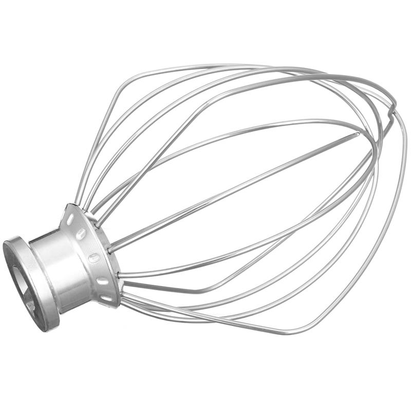 XMX-Stainless Steel Wire Whip Mixer Attachment For Kitchenaid K45Ww 9704329 Flour Cake Balloon Whisk Egg Cream Stirrer