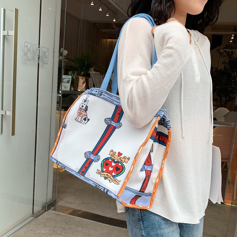 2019 Tote Bag Environmental Reusable Shopping Bag Good Quality Printing Canvas Fabric Bag Women Shoulder Large Capacity Bag