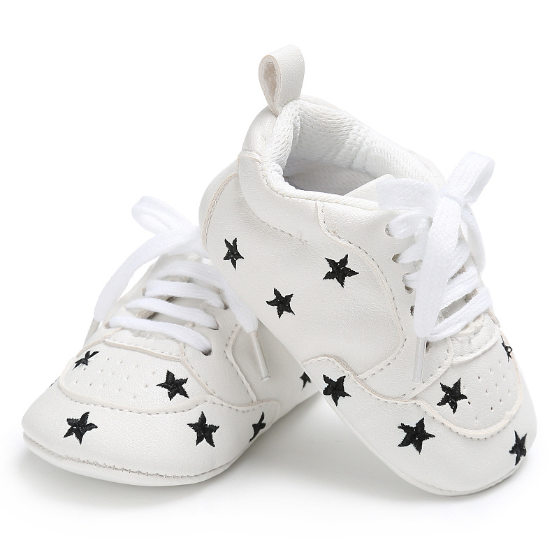 2020 baby infant shoes for newborn baby boys girls print heart star pattern first walkers kids toddlers soft sole pu sneakers for 0-18m