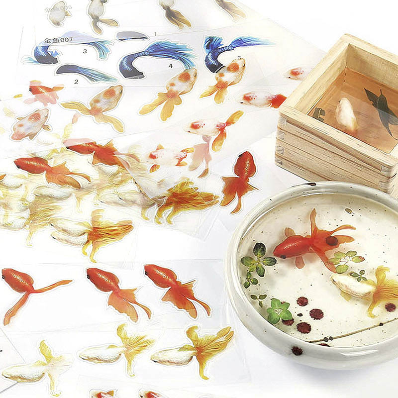 6pcs Gold Fish UV Epoxy Resin Stickers Filling Sticker Fit Silicone Mold DIY Micro Decorative Landscape Scrapbooking Gifts Tools