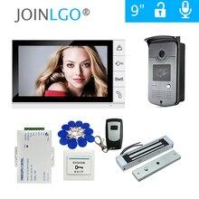 """จัดส่งฟรีใหม่9 """"หน้าจอสีวิดีโอประตูโทรศัพท์Intercom Kit + 1สีขาว + กลางแจ้งRFID Doorbellกล้อง + ล็อคแม่เหล็ก"""