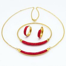 New women gift party jewelry gold stainless red crystal bracelet earring and necklace set(China)