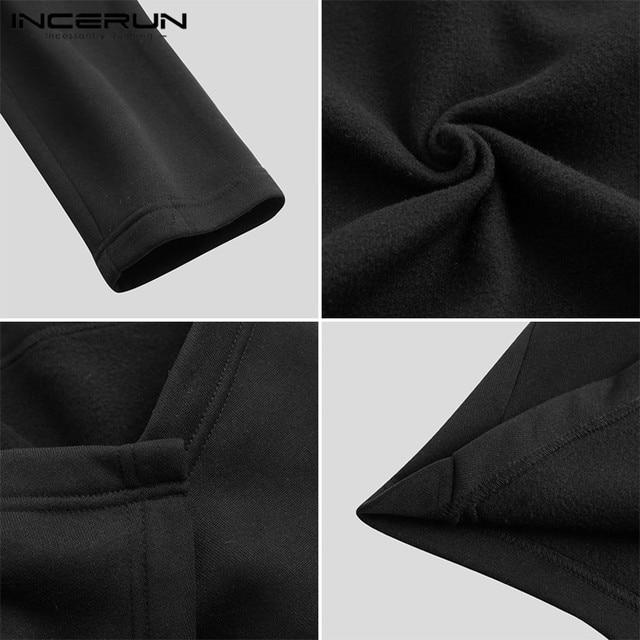 INCERUN Men Cloak Coats Streetwear Turtleneck Solid Long Sleeve Fashion Men Cape Outerwear Punk Style Irregular Jackets S-5XL 6