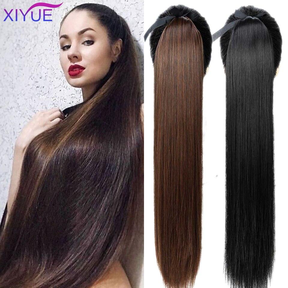 XIYUE супер длинные прямые Конские хвосты с заколками для волос для женщин термостойкие синтетические шнурки накладные волосы конский хвост ...