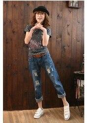 Модные женские рваные разорванный гарем брюки со средней талией свободные по щиколотку джинсы повседневные бойфренды джинсовые брюки