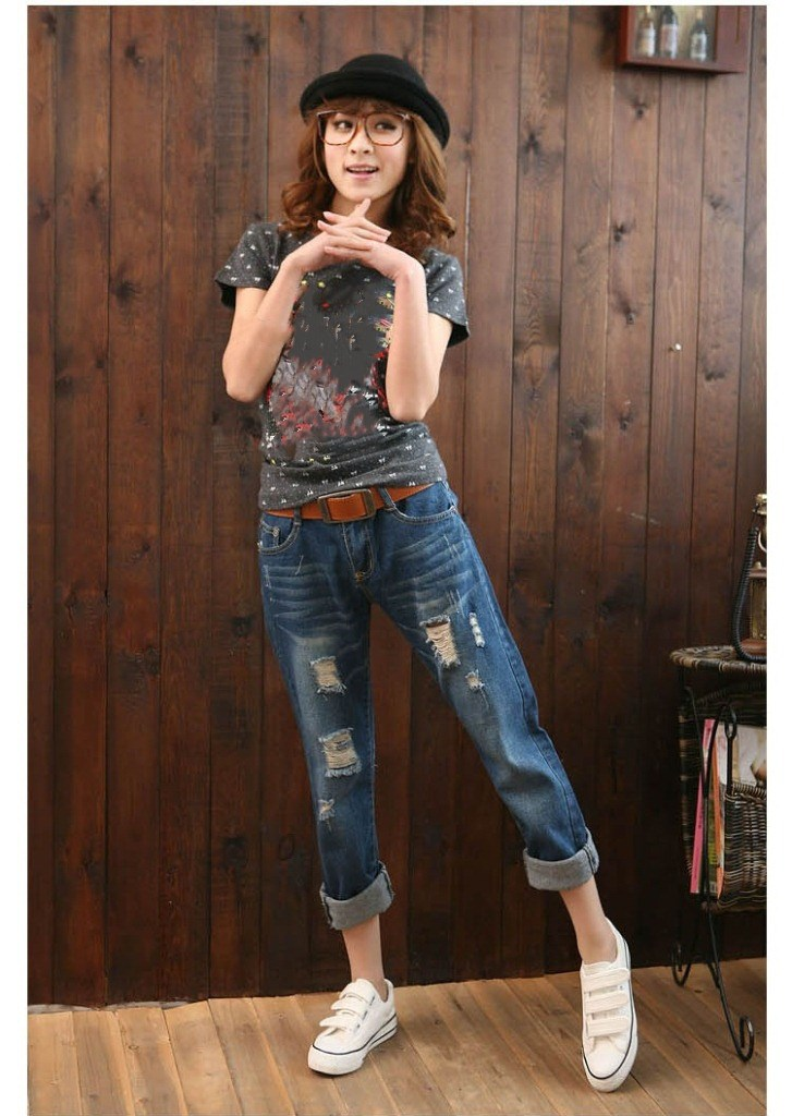 Fashion Women Hole Ripped Harem Pants Mid Waist Loose Ankle-Length Jeans Casual Boyfriend Denim Trousers