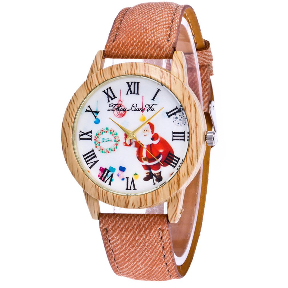 Fashion Watch  Men Watch Quartz Strap Top Brand Lady's Wooden Side Cowboy Belt Lady Watch Christmas Gift Clock#2