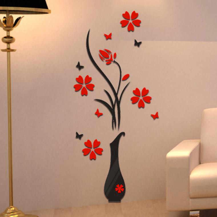 جميلة جدار الفن صائق DIY زهرية شجرة ورد الكريستال أرسيليك 3D ملصقات جدار صائق ديكور المنزل خلق ساحر أتموسفير