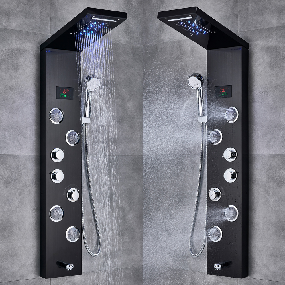Hf1ee8088d4a24e6d91a302a65d3d831ee Newly Luxury Black/Brushed Bathroom Shower Faucet LED Shower Panel Column Bathtub Mixer Tap With Hand Shower Temperature Screen