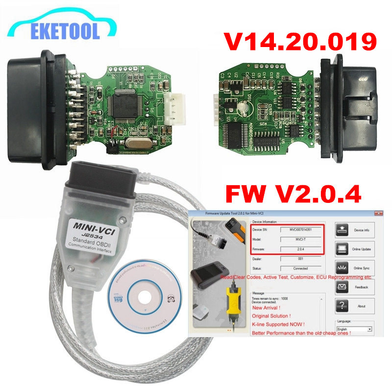 Newest MINI VCI V2.0.4 Real Firmware Upgraded V14.20.019 For Toyota TIS Techstream J2534 K-Line CAN-BUS FT232RL