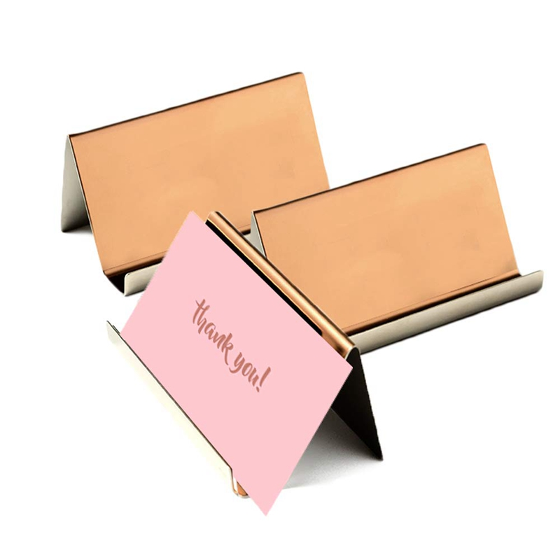 Business Card Holder Rose Gold (3-Pack), 9 X 5 X 4.5 Cm Stainless Steel Business Card Table Top Display Stand, Namecard Holder D