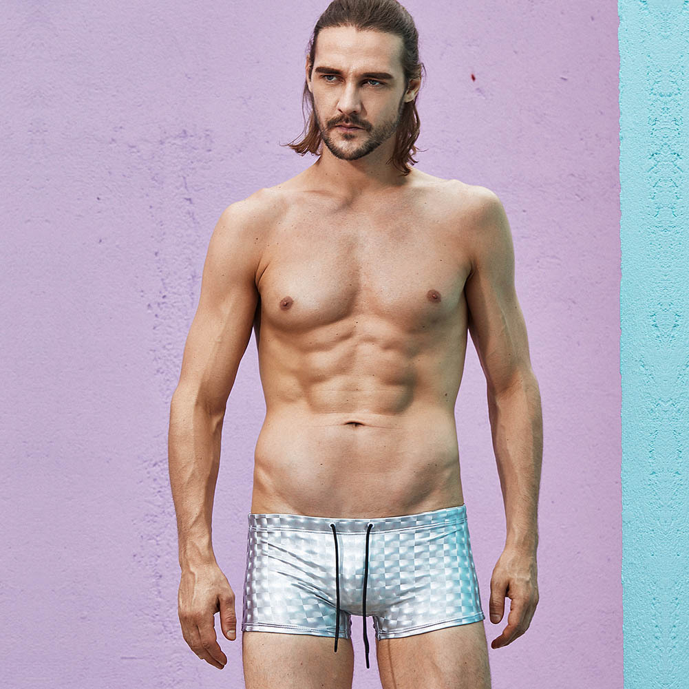 Superbody Europe And America Men Hide Substance Boxer Swimming Trunks Fashion 3D Reflective Catwalks Beach Shorts