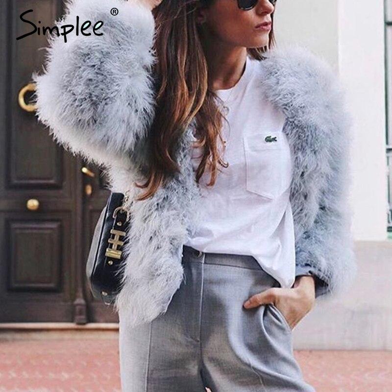 Simplee Casual Furry Faux Fur Coats Women Fake Fur Coat Female Short Pink Coat 2018 Winter Clothing Party Colored Fur Overcoat