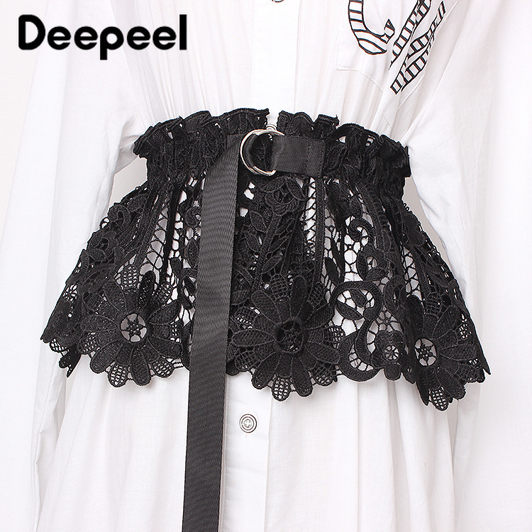 Deepeel 1pc 20cm*60cm Women Hollow Vintage Cummerbunds Flower Lace Elastic Wide Belts Adjustable Metal Buckle Waist Skirt CB614