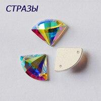 C2545TH Fan Shape 2 Holes 14x18mm 72pcs Crystal AB Rhinestones Flatback Sew On Diamond Sew On Strass Beads Silver Black Crafts