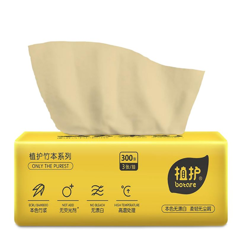 Natural Color Pumping Paper Disposable Soft Tissue Paper 6 Packs / Lifting 100 Pumping 3 Layers Of Paper Towels