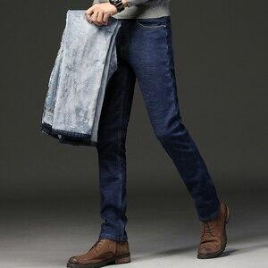 Image 5 - 2020 erkekler moda kış kot erkekler siyah Slim Fit streç kalın kadife pantolon sıcak kot rahat polar pantolon erkek artı boyutu
