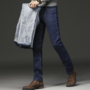 Image 5 - 2020 hommes mode hiver jean hommes noir Slim Fit Stretch épais velours pantalon chaud jean décontracté polaire pantalon mâle grande taille