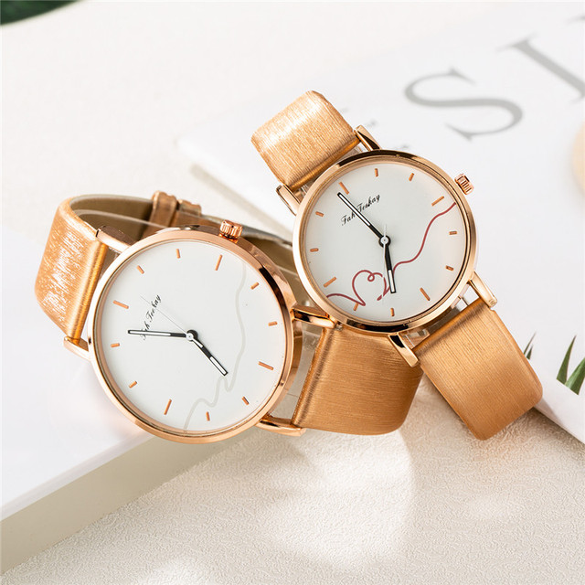 Couples Casual Leather Strap Wristwatch Set 3