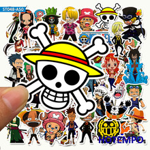 50pcs Anime ONE PIECE Luffy Stickers for DIY Mobile Phone Laptop Luggage Suitcase Skateboard Fixed Gear Decal