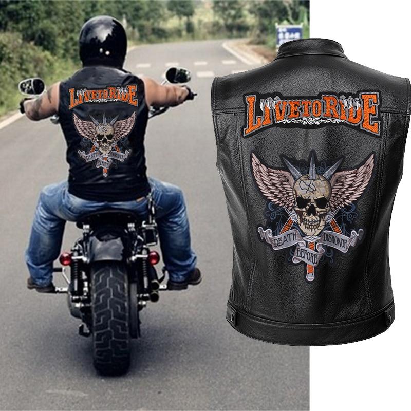 Mens Leather Motorcycle Vest Embroidery Skull Jacket Men Spring Jackets Black Motorrad Gilet