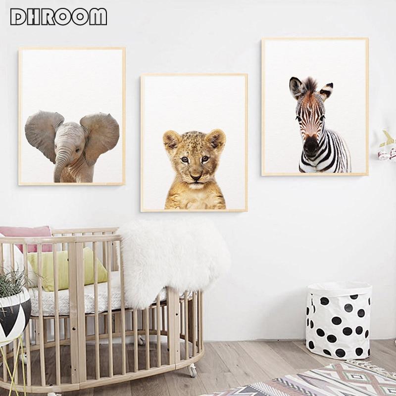 Hf1ef1d6a1a624943998c7742b1eebd32k Safari Baby Animals Canvas Poster Nursery Lion Tiger Wall Art Print Modern Animal Painting Nordic Kid Bedroom Decoration Picture