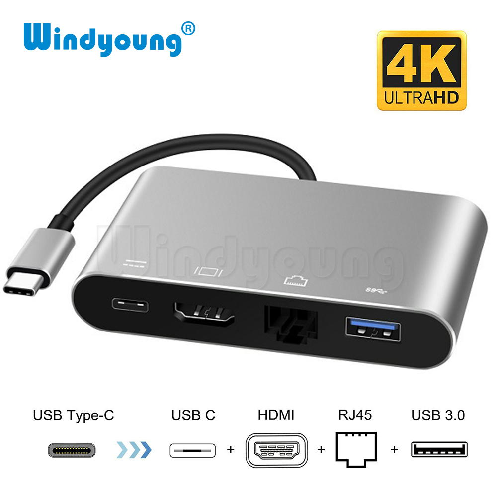 4 In 1 USB Type-C To HDMI 4K+ RJ45 Gigabit Ethernet Network Card + Type-C PD OTG Hub Adapter Cable For MacBook  USB-C Splitter