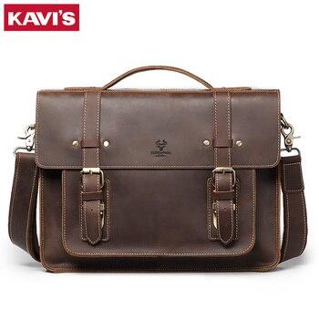 KAVIS 2020 men's Genuine Leather Briefcase Male man Large Laptop bag natural Leather for men Messenger bags men's briefcases
