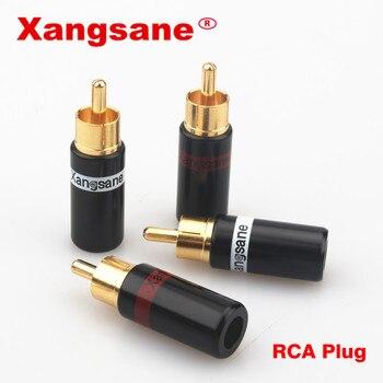 Xangsane 50pcs / 100pcs rca welding gold-plated plug male head hifi lotus plug AV audio head