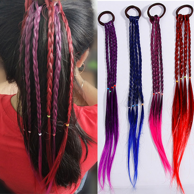 Children Wig Braids Headband Girls Multi-Colors Braid Rope Rubber Band Hair Accessories Lovely Girl Kids Wig Braid Hair Rope