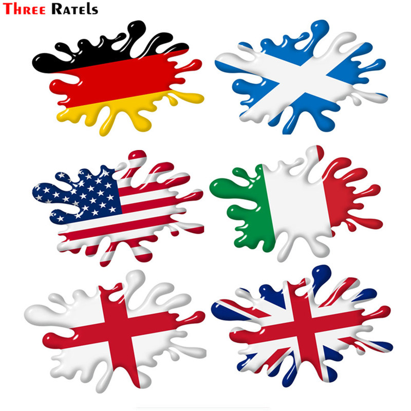 Three Ratels FTC-735# 3d Shaded Effect Splat Design With US Germmany Italy Union Jack British England Scotland Flag Car Sticker