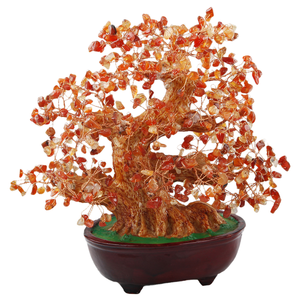 TUMBEELLUWA Natural Citrine Amethyst Carnelian Money Tree Bonsai Tumbled Crystal Wealth Lucky Fengshui Healing Decoration 8 Inch