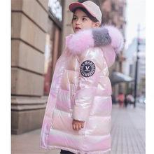 2020 russo inverno para baixo jaqueta para meninas à prova dwaterproof água brilhante quente meninas casaco de inverno 5-14 anos adolescente parka snowsuit 5.0