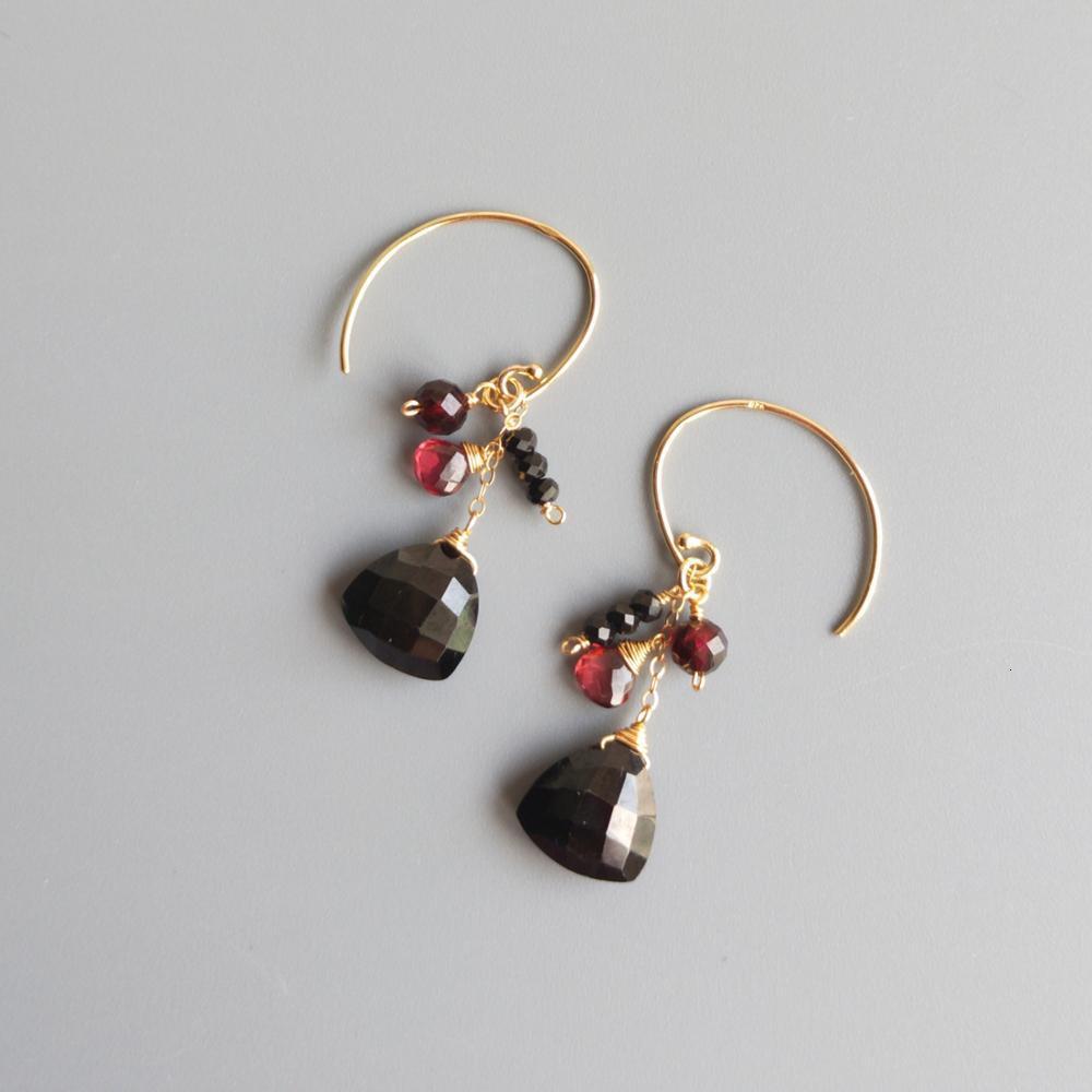 LiiJi Unique réel Triangle noir spinelles rouge grenat 925 argent Sterling or couleur à la main boucles d'oreilles goutte bijoux élégants