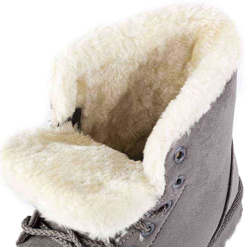 Kadın kışlık botlar süet kar şişeler yarım çizmeler kadın kadınlar için sıcak peluş ayakkabı kadın yuvarlak ayak Botas Mujer