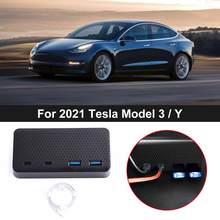 USB HUB Multi Port Extension Dock Splitter Car Phone Extender Charger Adapter For Tesla Model 3/Y 2021 Accessories