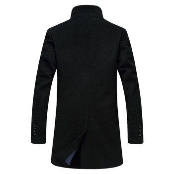 2019 New Men's Woolen Coat Casual Woolen Trench Coat Men's