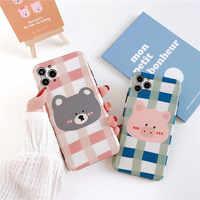 Grid pattern Animal Phone Case For iphone 11 Pro Max 7 8 plus X XR XR Max SE 2020 Cute Cartoon Pig Soft Back Cover Matte Funda